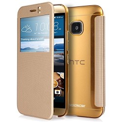 M9 Case, Pasonomi® [Smart Window View] HTC One M9 Folio Wallet Case – Slim Flip Leather Case For HTC One M9 Smartphone (Golden)