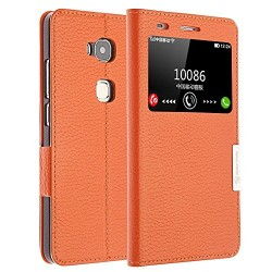 Make mate Flip phone Case for Huawei Honor 5x Genuine Leather Flip Cover Case with Window View Stand Cover for Huawei Honor 5x(orange)