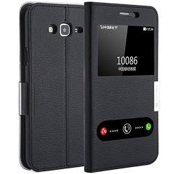 Make mate Genuine Leather Samsung J7 Cover Ultra Thin Flip Cover Case Window View Stand Feature Magnet Closure Phone Case for Samsung Galaxy J7 Black