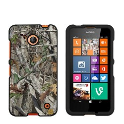 Premium Protection Slim Light Weight 2 piece Snap On Non-Slip Matte Hard Shell Rubber Coated Rubberized Phone Case Cover With Design For Nokia Lumia 635 (Window Phone) – Autumn Camouflage – Black – Retail Packaging