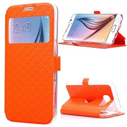 SailsON Electronics Samsung Galaxy S6 Case Leather Wallet PU Case Flip Cover Built-in Card Slots View Window Stand Holder Function Phone Protective For Samsung Galaxy S VI, Orange