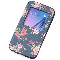 Samsung Galaxy S6 Case Smart Window View Flip Case Leather PU Bumper Case Flip Cover Full Body Case Magnetic Flower Design for galaxy s6 case (DARK MINT)